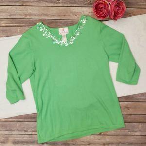 Quacker Factory Green V Neck Knit Sweater Medium